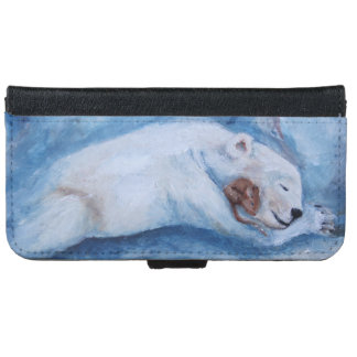 Sleeping Buddies Bear and mouse iPhone 6 Wallet Case