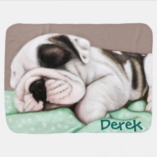 Sleeping Bulldog Puppy Pramblanket