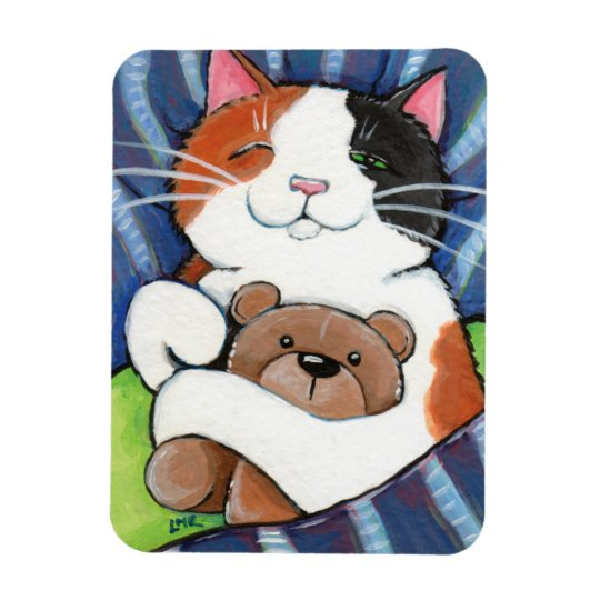 Sleeping Calico Cat and Teddy Bear Rectangular Photo Magnet