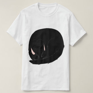Sleeping Cat (Curled Up) Black Tshirts