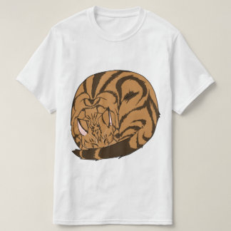 Sleeping Cat (Curled Up) Classic Tabby Brown T-Shirt