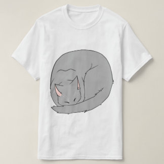 Sleeping Cat (Curled Up) Gray T-Shirt