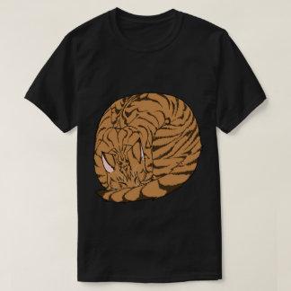 Sleeping Cat (Curled Up) Mackerel Tabby Brown T-Shirt