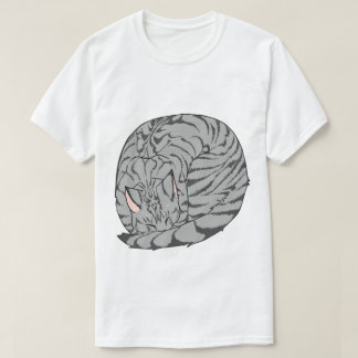 Sleeping Cat (Curled Up) Mackerel Tabby Gray T-Shirt