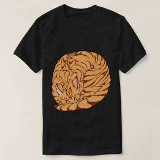 Sleeping Cat (Curled Up) Mackerel Tabby Orange T-Shirt