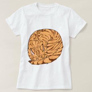 Sleeping Cat (Curled Up) Mackerel Tabby Orange Tshirts