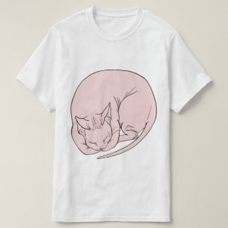 Sleeping Cat (Curled Up) Sphynx/Sphinx White Shirt