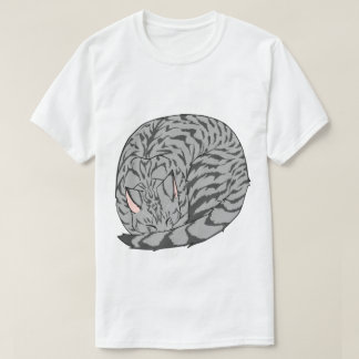 Sleeping Cat (Curled Up) Spotted Tabby Gray Shirts
