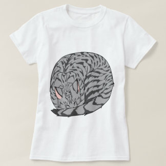 Sleeping Cat (Curled Up) Spotted Tabby Gray T-Shirt
