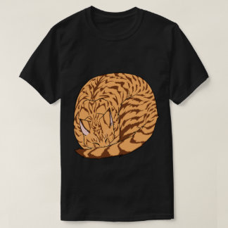 Sleeping Cat (Curled Up) Spotted Tabby Orange T-Shirt