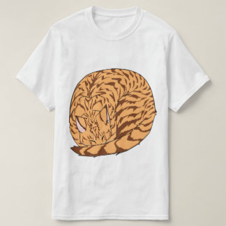 Sleeping Cat (Curled Up) Spotted Tabby Orange Tee Shirts