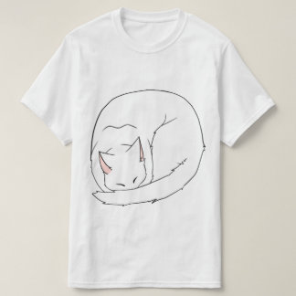Sleeping Cat (Curled Up) White T-Shirt