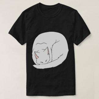 Sleeping Cat (Curled Up) White T Shirts