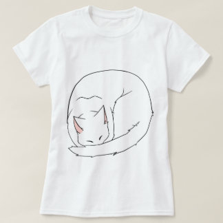 Sleeping Cat (Curled Up) White Tee Shirt
