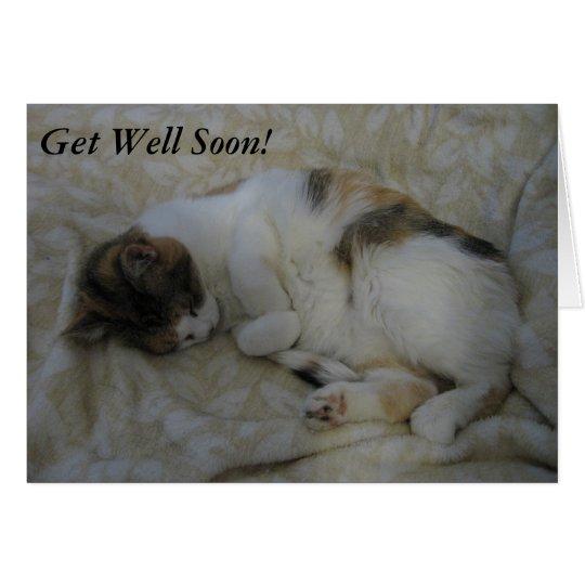 Sleeping Cat Get Well Soon Card #2