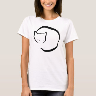 Sleeping cat in four lines T-Shirt