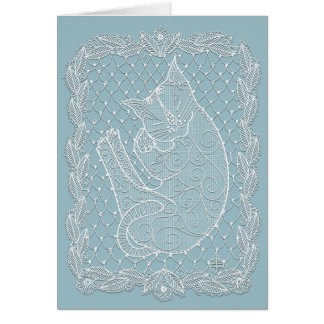 Sleeping Cat Lace Doily (french blue, blank) Card