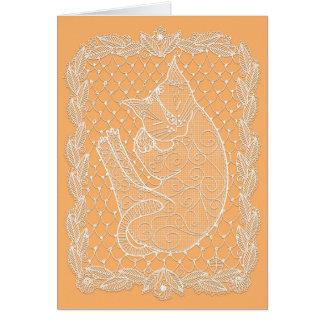 Sleeping Cat Lace Doily (Sunflower, blank) Card