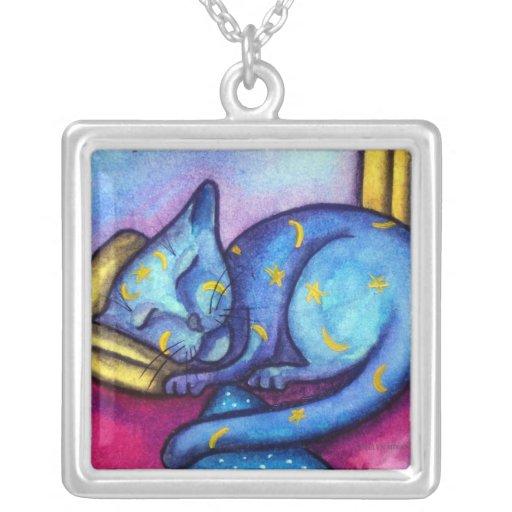 Sleeping Cat Moons and Stars Pendants