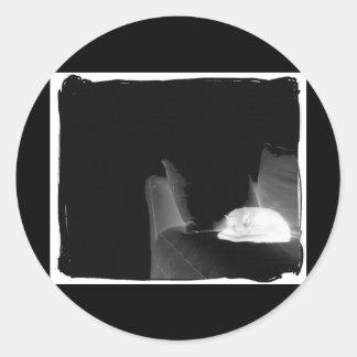 Sleeping Cat On Sofa - B&W Negative Round Sticker