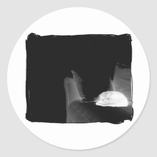 Sleeping Cat On Sofa - B&W Negative Round Sticker