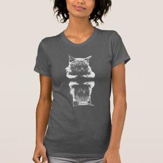 Sleeping Cat Reflection Monochrome Tee Shirt