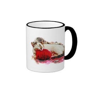 Sleeping Cat with Red Yarn Pillow Coffee Mugs