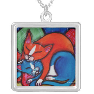 Sleeping Cats Square Pendant Necklace