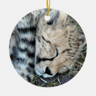 Sleeping Cheetah Cub Photo Christmas Ornament