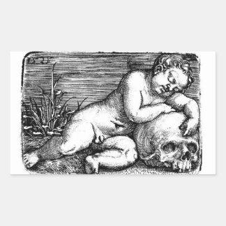 Sleeping Cherub and Skull Rectangular Sticker