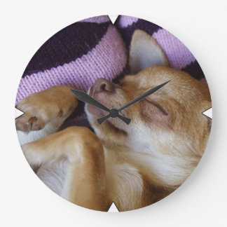 Sleeping Chihuahua Large Clock