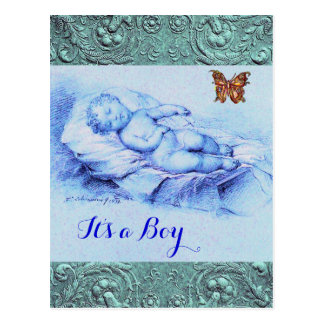 SLEEPING CHILD,BUTTERFLY,FLORAL BLUE BABY SHOWER POSTCARD