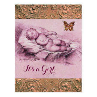 SLEEPING CHILD,BUTTERFLY,FLORAL PINK BABY SHOWER POSTCARD