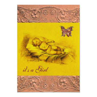SLEEPING CHILD, BUTTERFLY YELLOW PINK  BABY SHOWER 13 CM X 18 CM INVITATION CARD