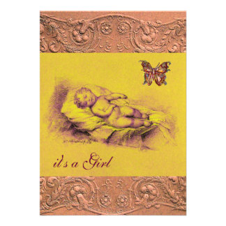 SLEEPING CHILD BUTTERFLY YELLOW PINK BABY SHOWER CARD
