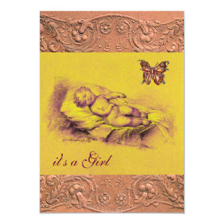 "SLEEPING CHILD, BUTTERFLY YELLOW PINK  BABY SHOWER 5"" X 7"" INVITATION CARD"