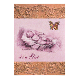 SLEEPING CHILD WITH BUTTERFLY GIRL BABY SHOWER 13 CM X 18 CM INVITATION CARD