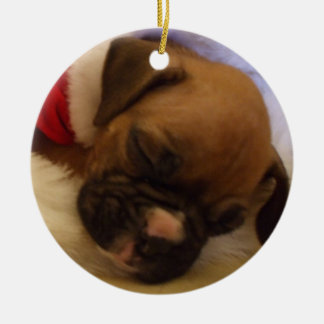 Sleeping Christmas Boxer puppy ornament