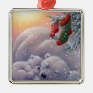 Sleeping Christmas Polar Bears Christmas Ornament