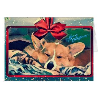 Sleeping Corgi Christmas Card
