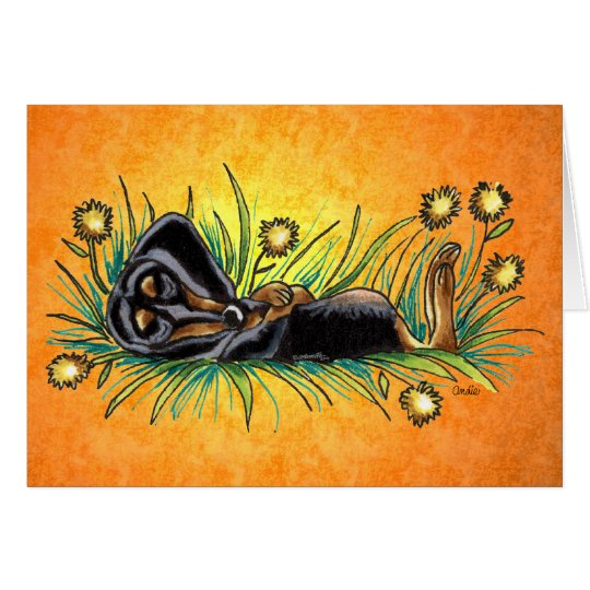 Sleeping Dachshund in Dandelions Custom Card