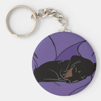 Sleeping Dachshund Puppy Key Ring