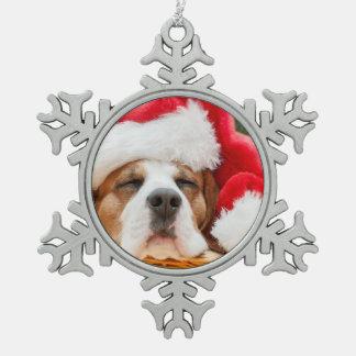 Sleeping Dog Weared To Santa Hat Pewter Snowflake Decoration