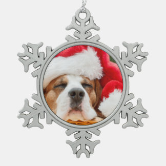 Sleeping Dog Weared To Santa Hat Snowflake Pewter Christmas Ornament