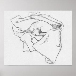 """Sleeping Dragon"" Ferret Drawing Poster"