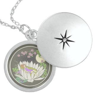 Sleeping Flower Fairy Moonlight Stars Round Locket Necklace