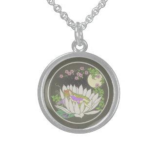 Sleeping Flower Fairy Moonlight Stars Round Pendant Necklace