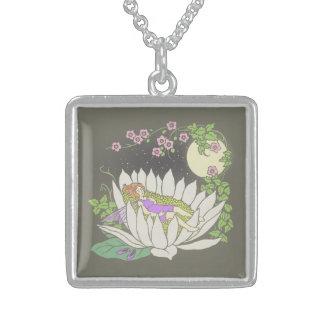 Sleeping Flower Fairy Moonlight Stars Square Pendant Necklace