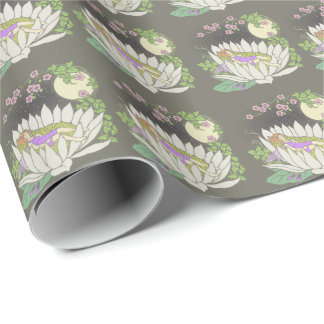 Sleeping Flower Fairy Moonlight Stars Wrapping Paper