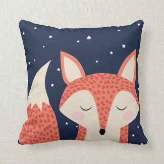 Sleeping fox art red fox night sky and stars Cushion